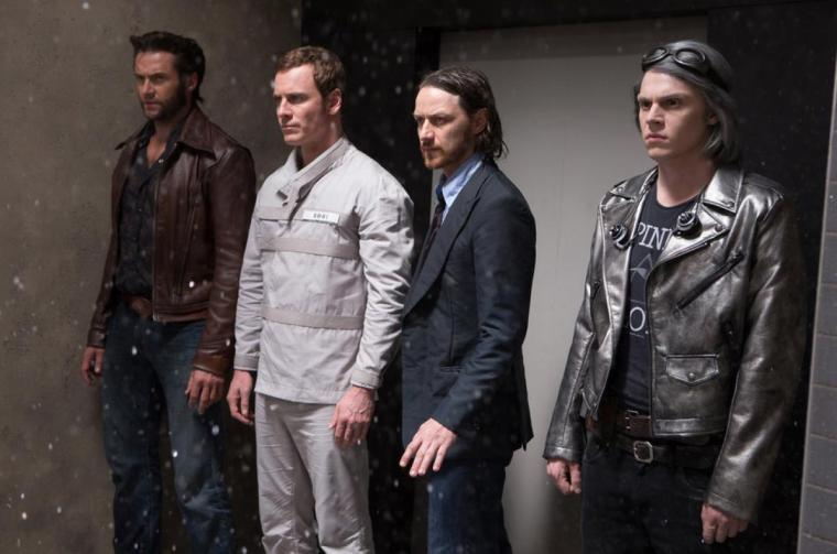 Left To Right: Logan/Wolverine (Hugh Jackman), Erik Lensherr/Magneto (Michael Fassbender), Charles Xavier/Professor X (James McAvoy) & Pietro Maximoff/Quicksilver (Evan Peters) (X-Men: Days Of Future Past, 20th Century Fox, Marvel Entertainment)