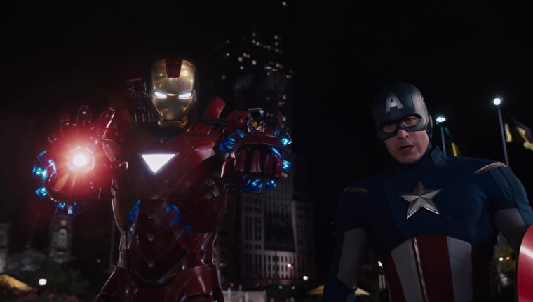 Tony Stark/Iron Man (Robert Downey Jr) & Steve Rogers/Captain America (Chris Evans) Marvel's Avengers, (Marvel Studios)
