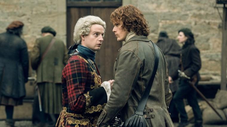 The Jacobite instigator Prince Charlie (Andrew Gower) & Jamie Fraser (Sam Heughan) (Outlander, Starz)