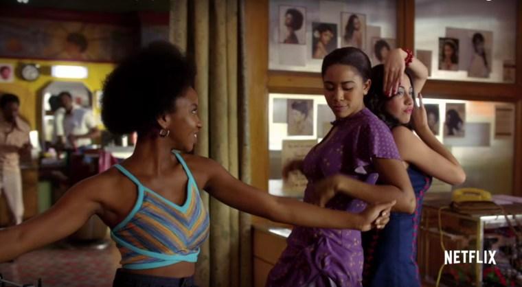 Yolanda Kipling ( Stefanée Martin), Mylene Cruz (Herizen Guardiola) & Regina Diaz (Shyrley Rodriguez) (The Get Down, Netflix)