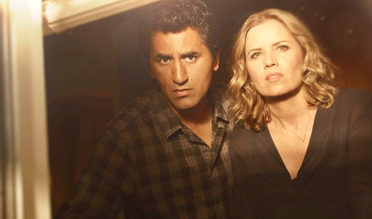 The emotional and goodnatured Travis (Cliff Curtis) and the motherly yet dark Madison (Kim Dickens) (Fear The Walking Dead, AMC Network)