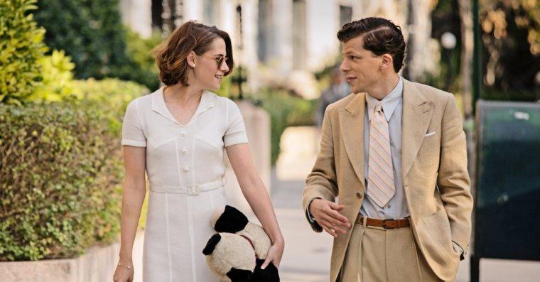 Veronica (Stewart) and Bobbie (Eisenberg) (Café Society, Warner Bros.)