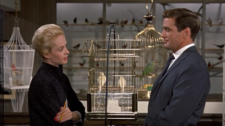 Melanie Daniels (Tippi Hedren) with Mitch Brenner (Rod Taylor) (The Birds, Universal Pictures)