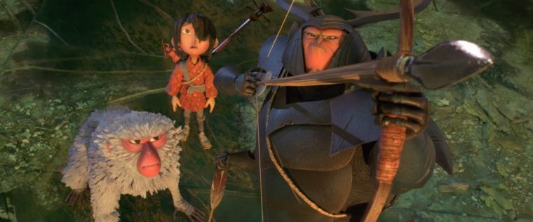 Monkey (Theron), Kubo (Parkinson) and Beetle (McConaughey)  (Kubo And The Two Strings, Universal Studios)