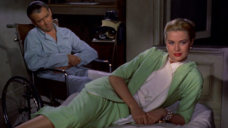 Lisa (Grace Kelly) and Jeff (James Stewart) in Rear Window (Rear Window, Paramount Pictures)