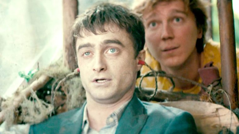 Daniel Radcliffe plays Manny the talking corpse in Swiss Army Man with Paul Dano as Hank (Swiss Army Man, Picturehouse Entertainment)