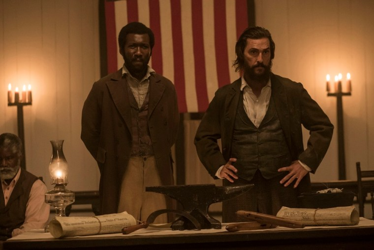 Moses (Mahershala Ali) and Newt Knight (Matthew McConaughey) star in Free State Of Jones (Free State Of Jones, StudioCanal)