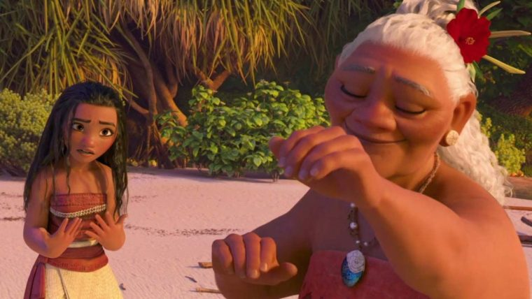Moana (Auli'i Cravalho) with the village crazy lady and her Grandma (Rachel House) (Moana, Walt Disney Pictures)