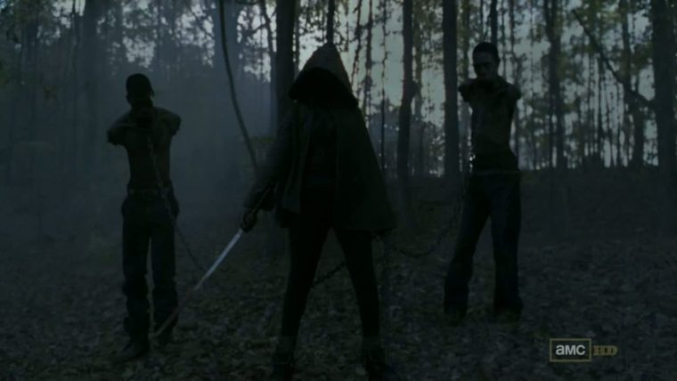 First appearance of Michonne (Danai Gurira) on The Walking Dead (The Walking Dead, AMC)