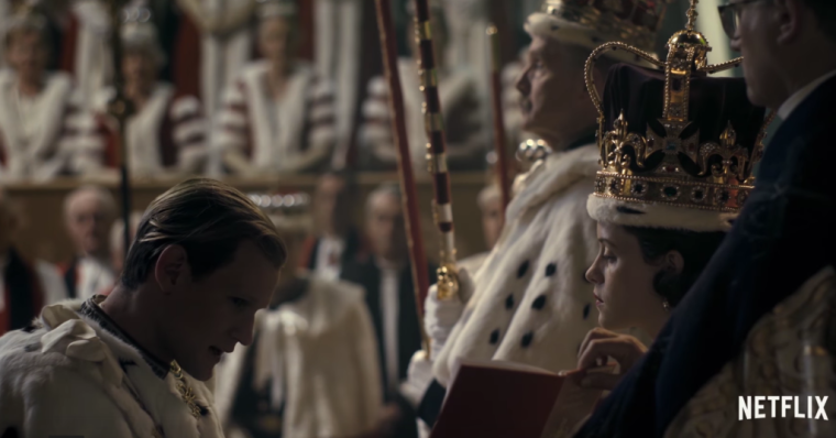 Philip (Matt Smith) pledges allegiance to his wife and sovereign Elizabeth II (Claire Foy) (The Crown, Netflix)