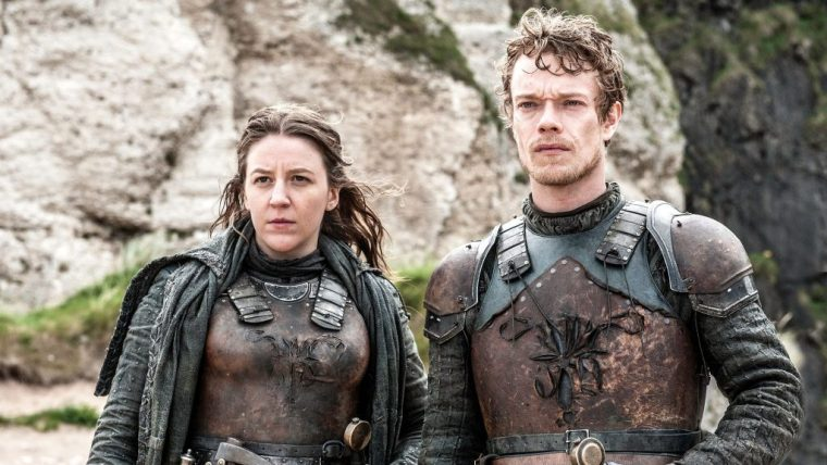 Yara/Asha Greyjoy (Gemma Whelan) with her brother Theon Greyjoy (Alfie Allen) back on the Iron Islands (Game Of Thrones, HBO)