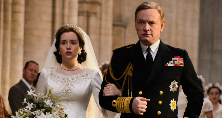 Still Princess Elizabeth (Claire Foy) with her father King George IV (Jared Harris) (The Crown, Netflix)