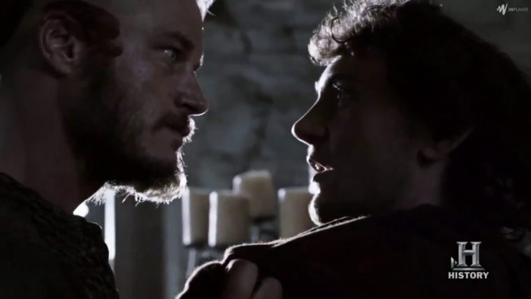 Ragnar (Fimmel) first meets Athelstan (Blagden) (Vikings, History Channel)