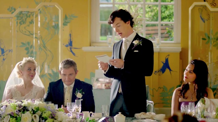 Mary Morstan (Amanda Abbington), Doctor John Watson (Martin Freeman) at his own wedding with his best man Sherlock Holmes (Benedict Cumberbatch) and Mary's maid of honour Janine Hawkins (Yasmine Akram) (Sherlock, BBC One)