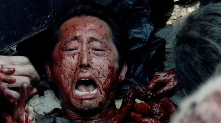 """The Death"" Of Glenn Rhee (Steven Yeun) in season six of The Walking Dead (The Walking Dead, AMC)"