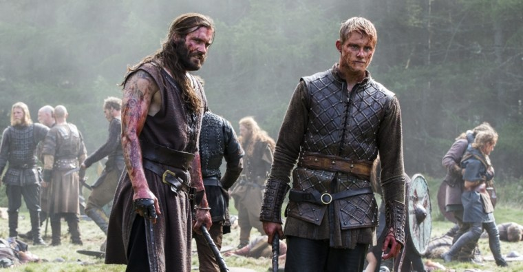 Rollo (Clive Standen) with his nephew, now a young man, Bjorn (Alexander Ludwig) (Vikings, History Channel)