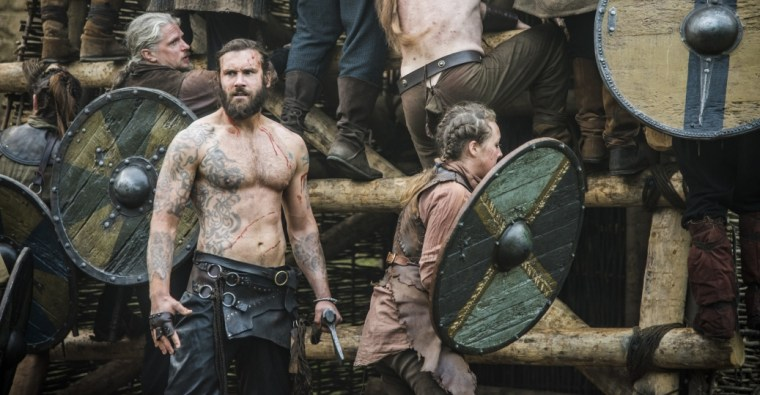 Rollo (Clive Standen) doesn't need armour...or clothes for that, he's too badass (Vikings, History Channel)