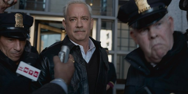 A hero to many, a villain to a few: Captain Sully (Hanks) saves 155 people and he's somehow the enemy? (Sully, Warner Bros.)