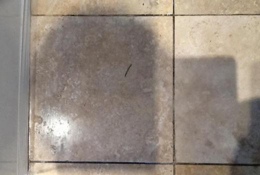 Travertine Tiled Kitchen with Stained Grout Northampton