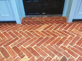 Herringbone design terracotta floor after Cogenhoe