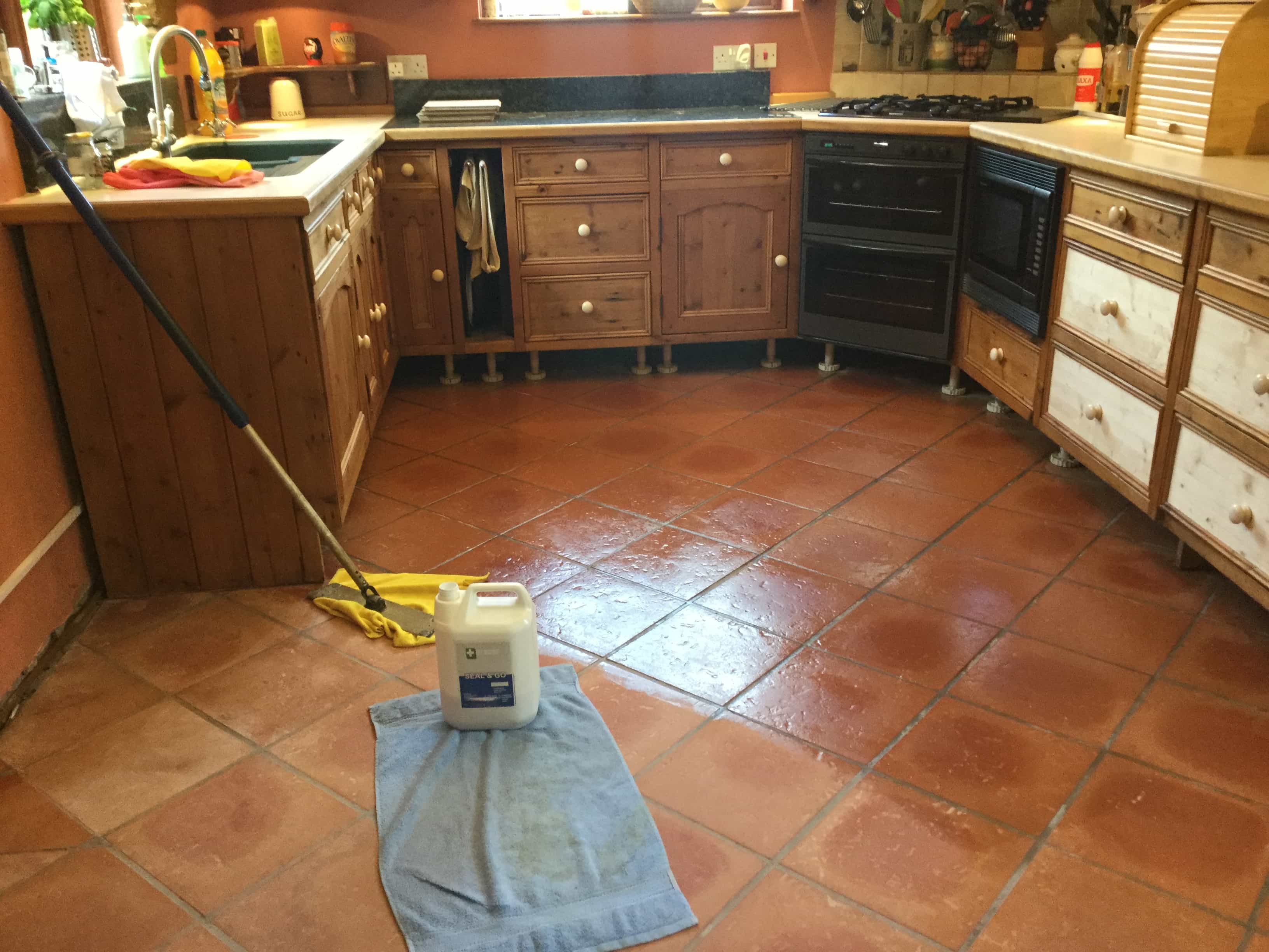 Terracotta Tiled Kitchen Floor During Sealing Maidford