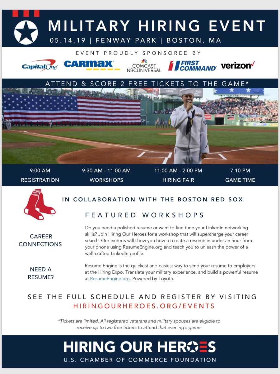 Save The Date For Upcoming Military Hiring Event At Fenway Park On May 14 2019 9AM 2PM With HiringOurHeroes North Andover News