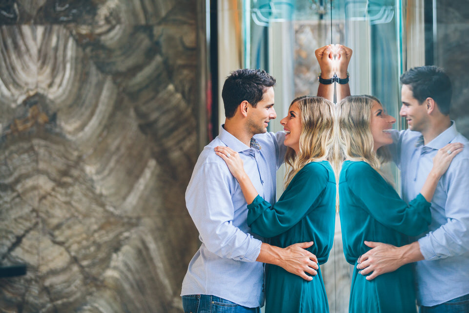 Shannon and Philip Engagement Session at Lafeyette Park and the Four Seasons Hotel in Downtown St. Louis, MO by Engagement Photographers North Arrow Creative