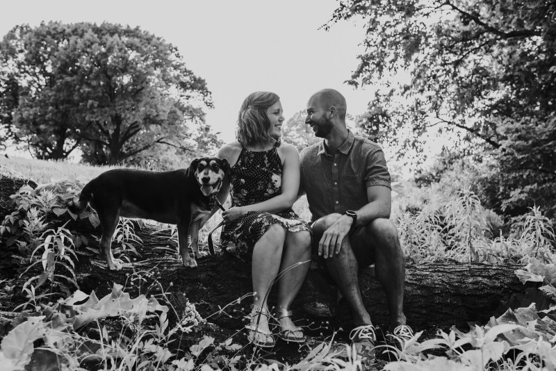 Mollie and Curtis's engagement photography session with their dog at Forest Park and Schlafly Bottle Works in Maplewood, Missouri by St. Louis Wedding Photographer North Arrow Creative