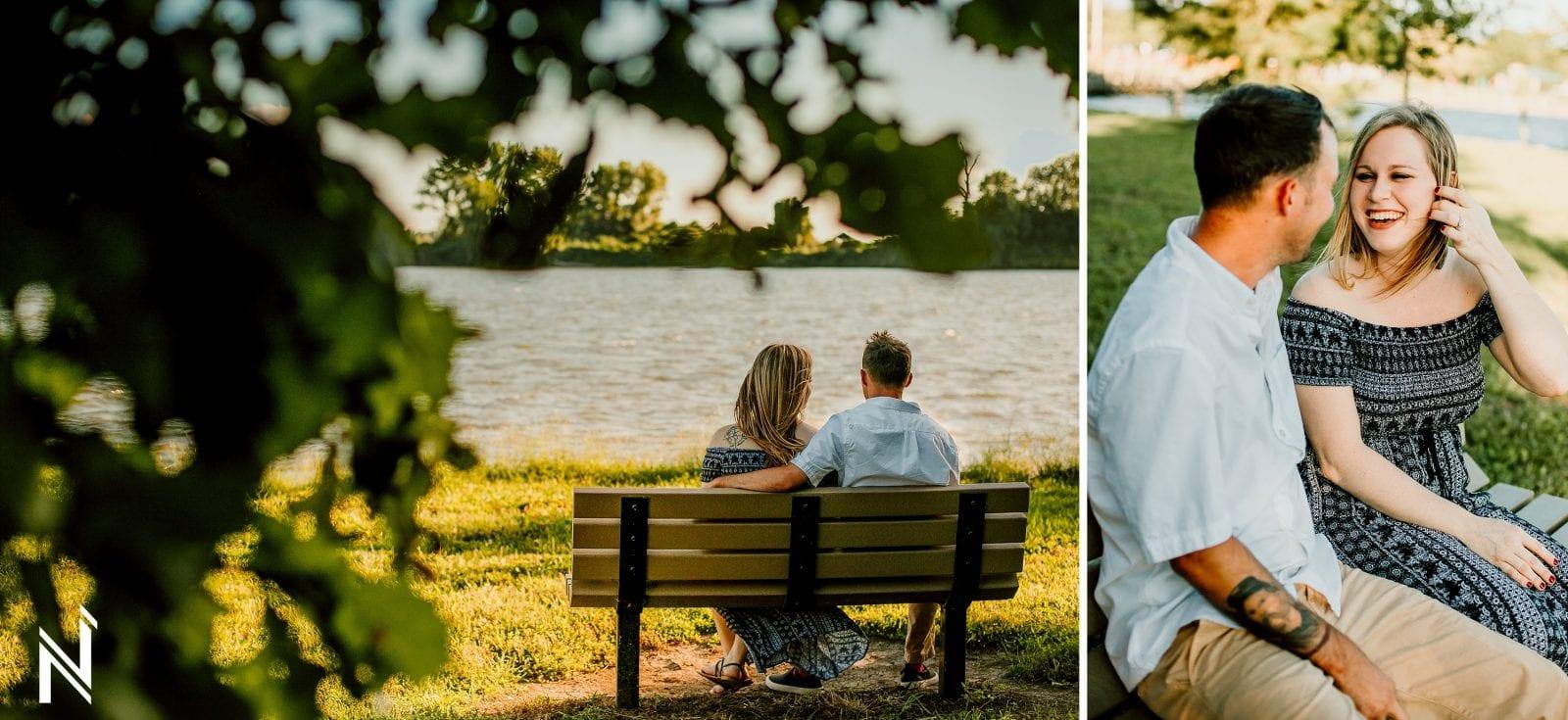 Engagement photos at Westport Social and Creve Coeur Lake in St. Louis, Missouri