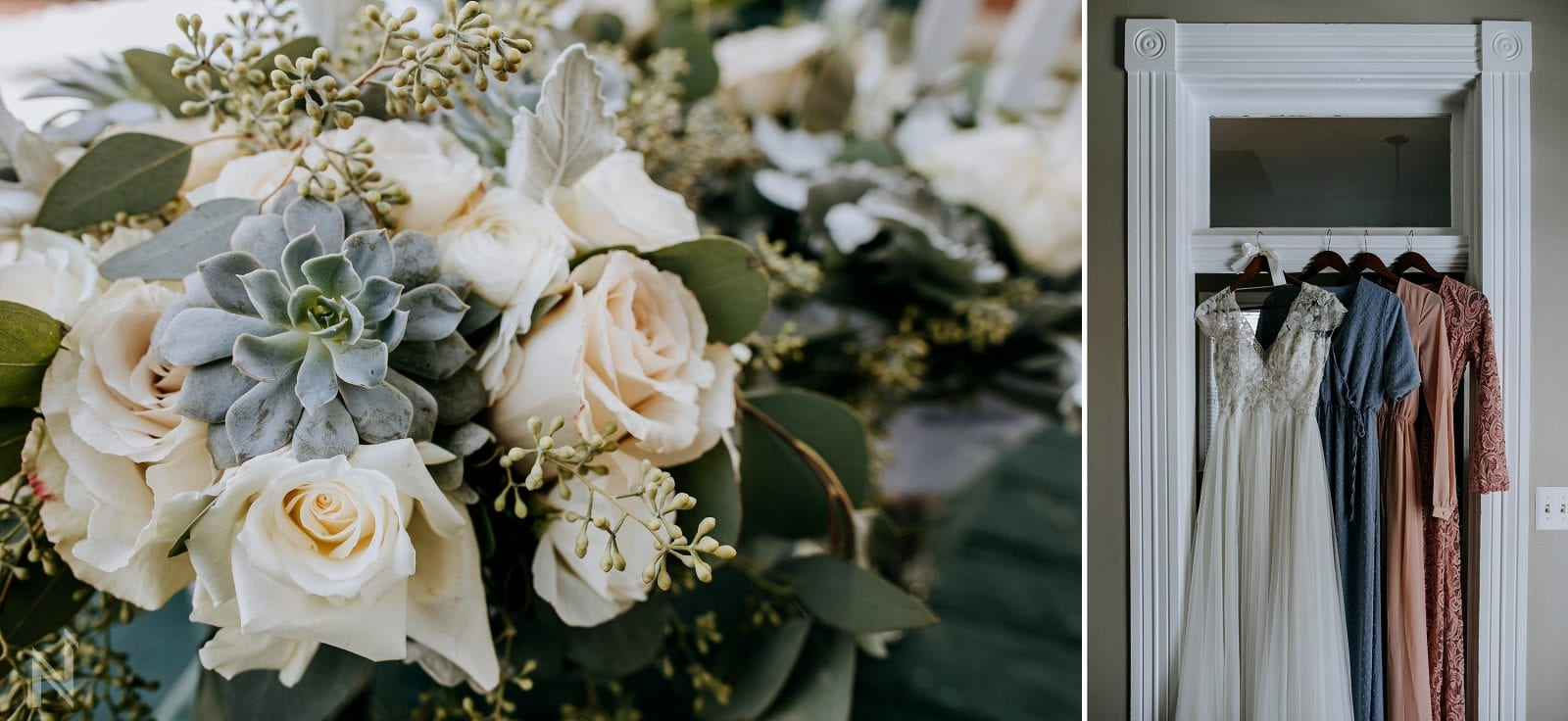 succulent and peony wedding bouquet flowers photography in old st. charles, missouri