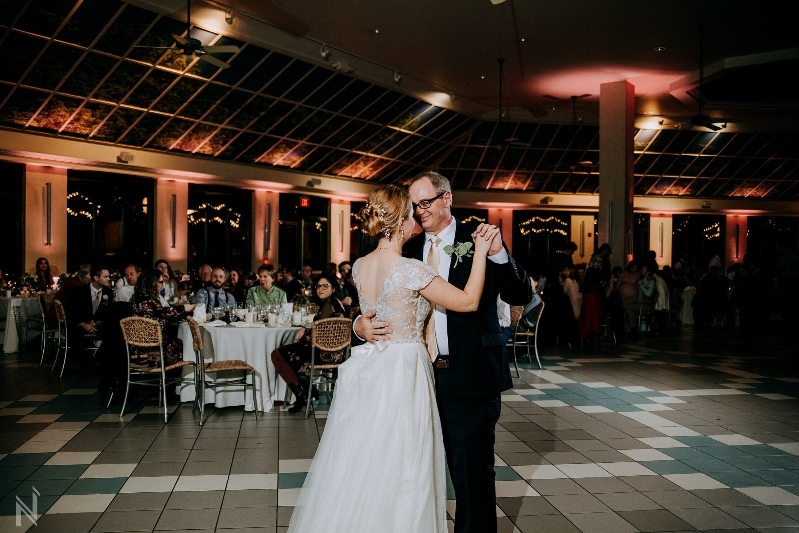 Father of the bride dance at St. Louis Zoo wedding reception photography at Lakeside Cafe