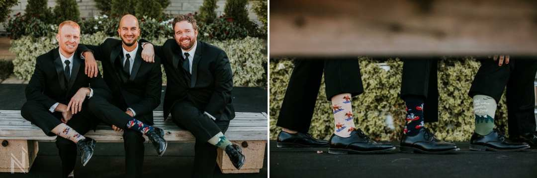 Groomsmen and individual quirky socks