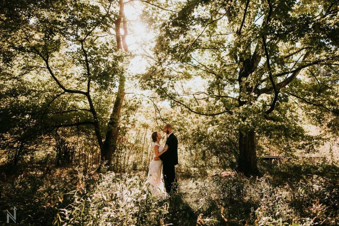 Wedding photography of bride and groom in Forest Park in St. Louis, Missouri