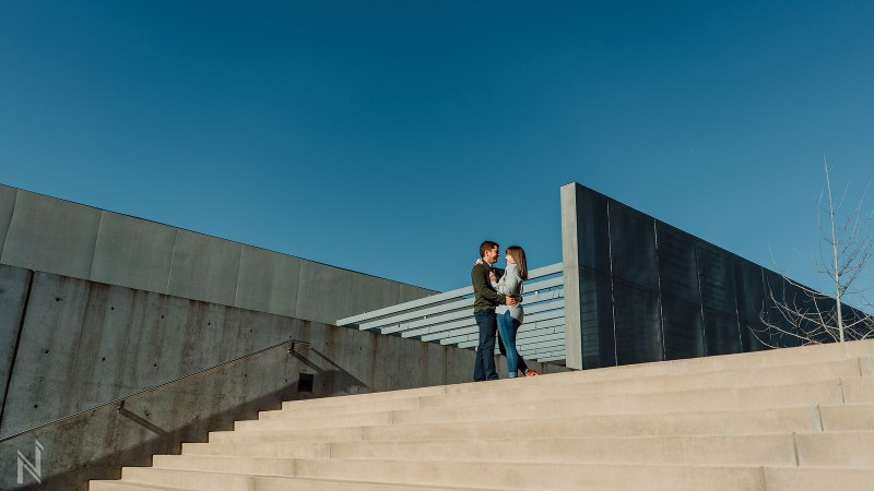 Hayley and Jordan's engagement photography session at The Contemporary Art Museum and Pulitzer Art Museum by St. Louis Wedding Photographers North Arrow Creative