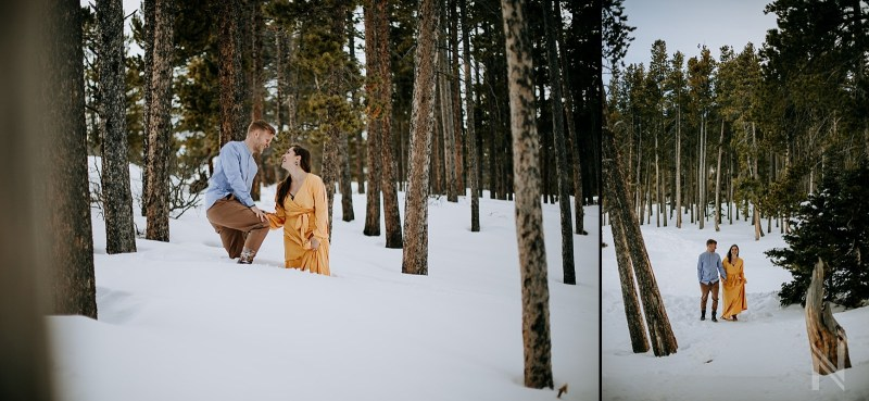 Rocky Mountain National Park and Estes Park Engagement Photography with snow and flowy yellow dress Funny Stuck in the Snow photo