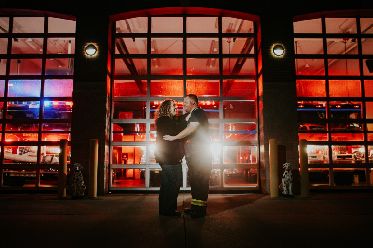 Dramatic Engagement Photography at Smithton Fire Department in Illinois