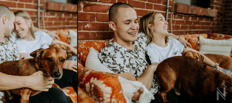 Bohemian loft lifestyle intimate couple's photography session with dogs in St. Louis