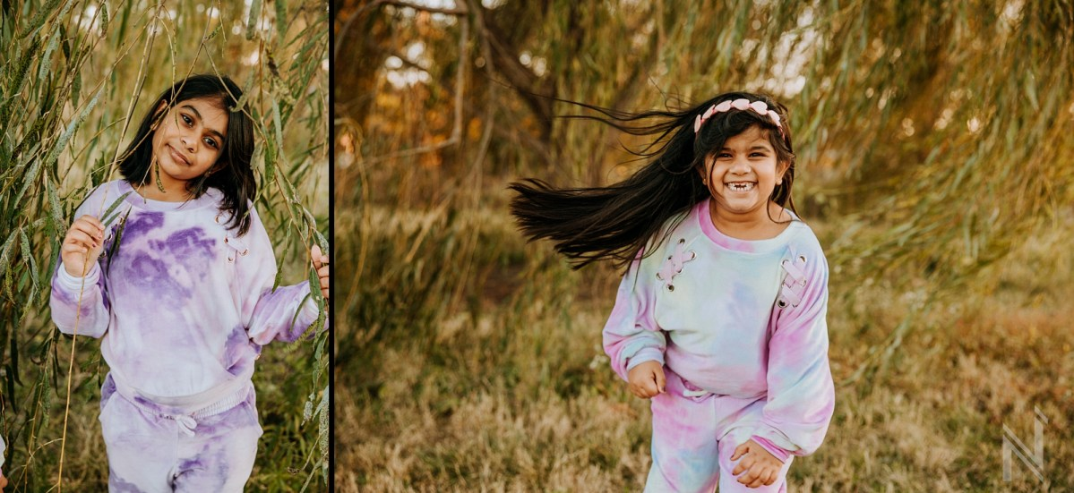 playful Family photography of St. Louis Indian Family at Forest Park during Golden Hour