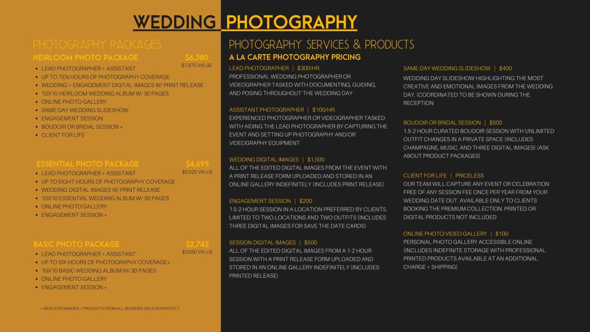 Wedding Photography videography packages and prices