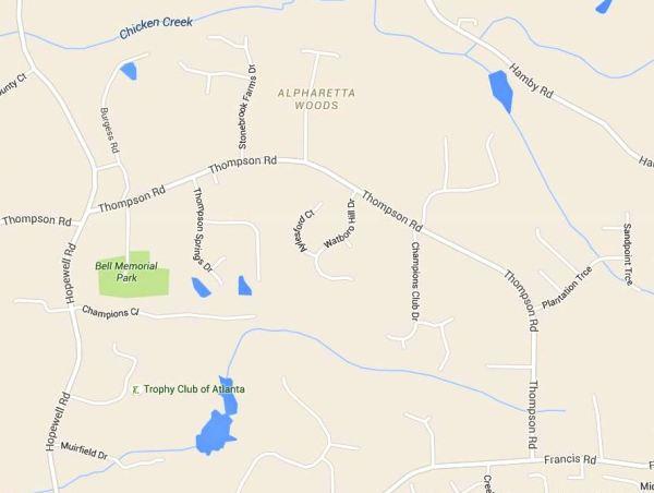 Thompson Road Milton GA Traton Homes Neighborhood Location