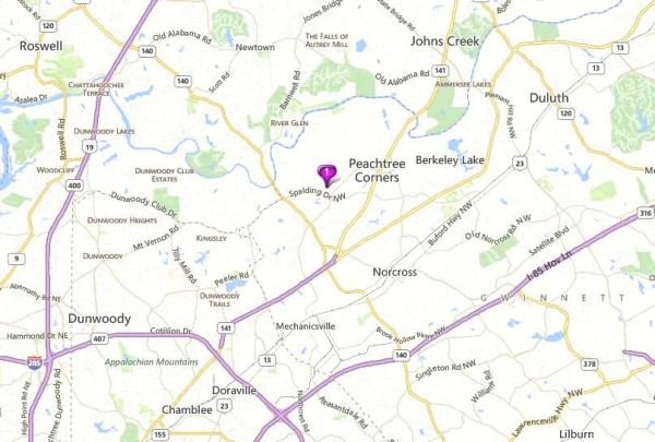 Map Of Peachtree Corners Neighborhood River Valley Estates