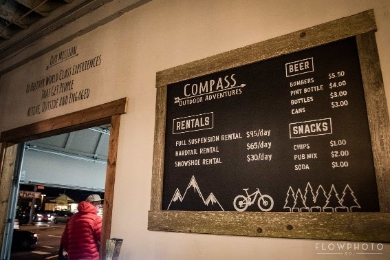 Prices for rentals, beer, and snacks at Compass Outdoor Adventures Prices for rentals, beer, and snacks