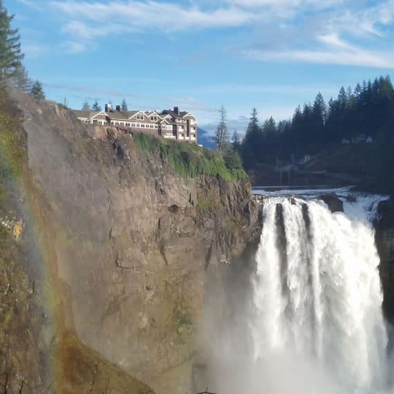 Great Northern Hotel with White Tail Falls