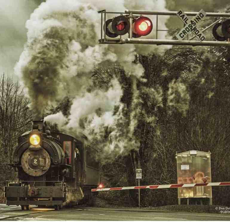 Steam Locomotive Passing Through North Bend