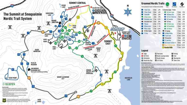 2018-19 Snoqualmie Nordic Trail Map