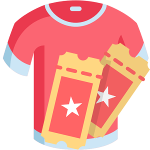 tickets and tshirt icon - temporary