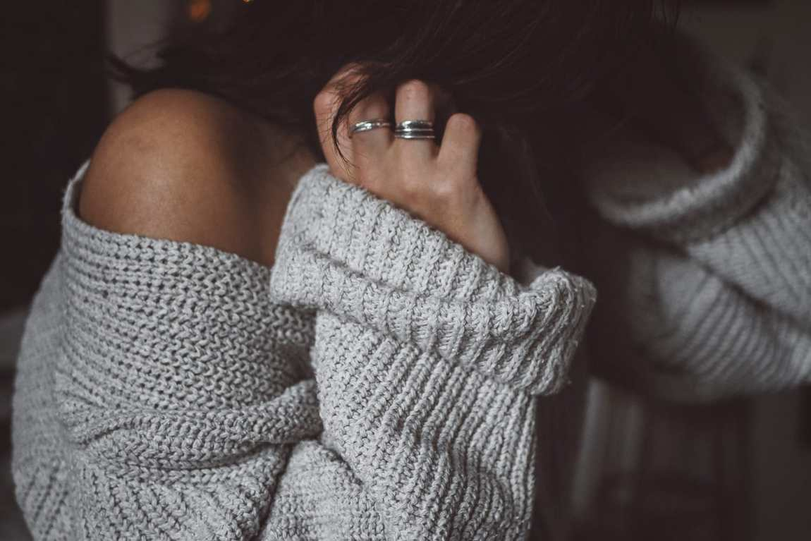 female in knitted sweater