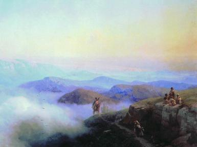 Chains of the Caucasus mountains 1869 Ivan Aivazovsky North Caucasus paintings