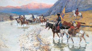 Franz Roubaud - Circassians Crossing a River at Sunset