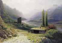 Lev Lagorio caucasus gorge painting